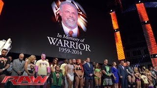 A tribute to the memory of The Ultimate Warrior: Raw, April 14, 2014