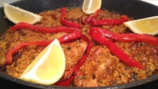 Chicken paella (cooked in a skillet)