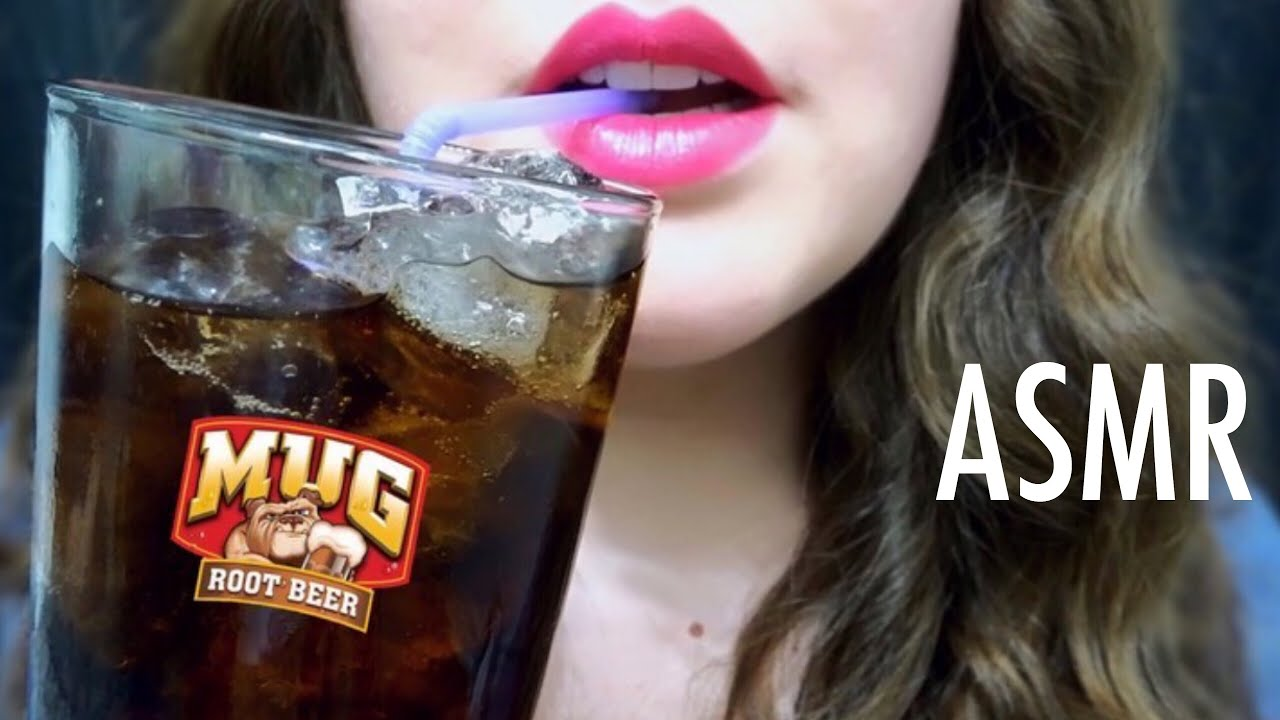 ASMR Drinking ROOT BEER & Eating ICE
