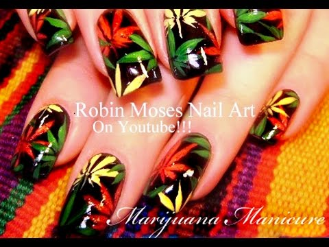 Rasta Marijuana Manicure Nail Art Tutorial Diy Pot Nails Youtube