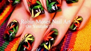 Nail Art Tutorial | DIY Pot Leaf Nail Art Design | Rasta Nails