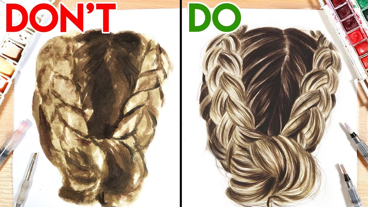 DOS  DONTS How to Paint Hair with Watercolor  YouTube