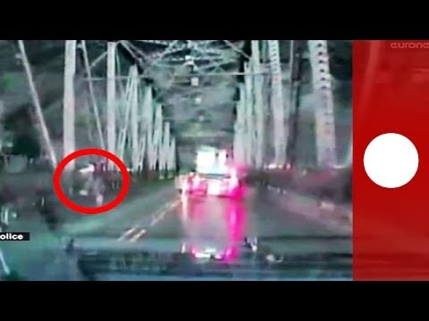 Incredible: Woman jumps off bridge to escape police in Oregon