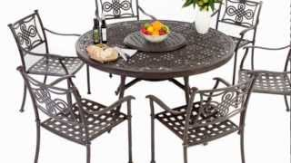 6 Seater Round Aluminium Outdoor Furniture Set with Full Length Cushions