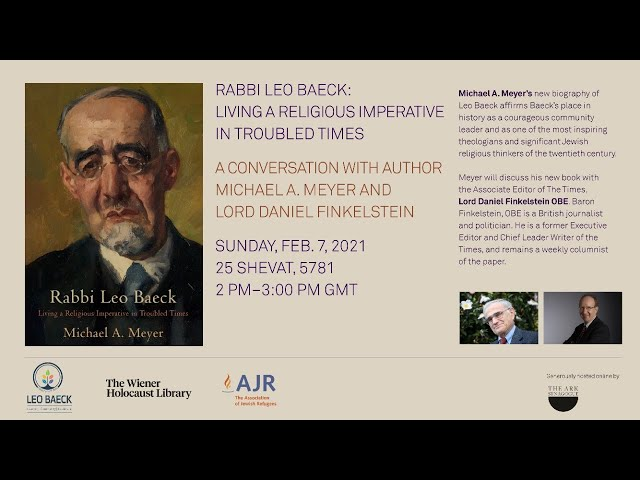 LIVE: Rabbi Leo Baeck: Living a Religious Imperative in Troubled Times