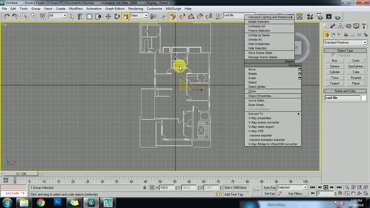 how to import autocad file in 3ds max