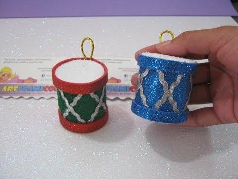 Tambores navide os en foamy adornos para arbol de navidad for Manualidades souvenirs navidenos