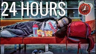 24 HOUR OVERNIGHT CHALLENGE HOMELESS AT THE AIRPORT | MYSTERY FLIGHTS NEW ORLEANS