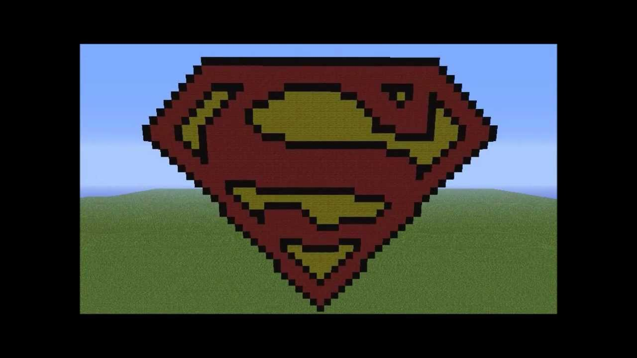 Minecraft Pixel Art Superman Logo Youtube