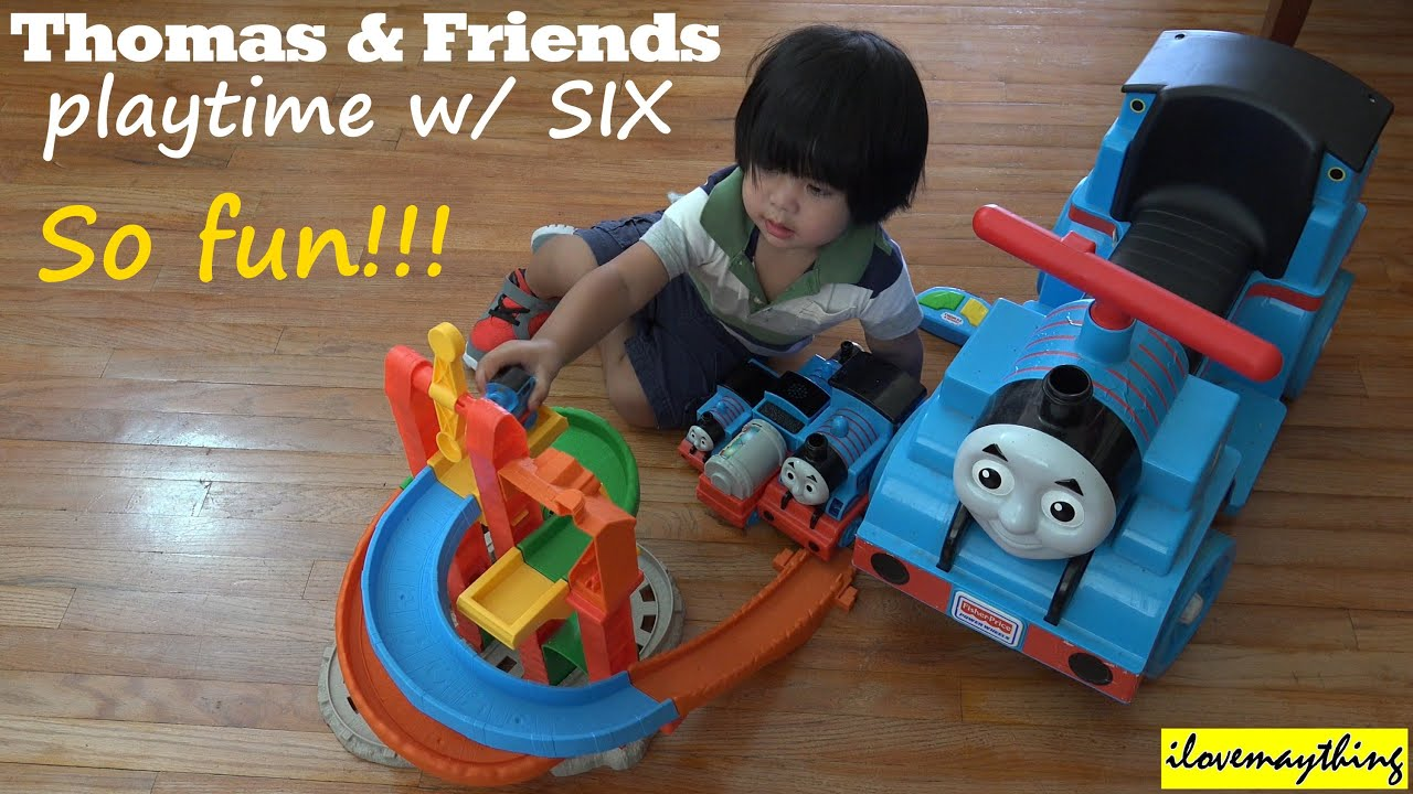 Toy Trains For Two Year Olds : A year old toddler playing some thomas friends toy