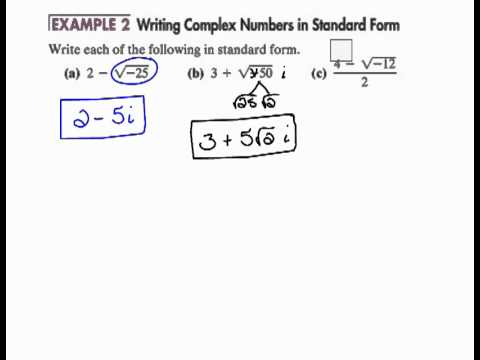Writing Complex Numbers in Standard Form 6.8 - YouTube