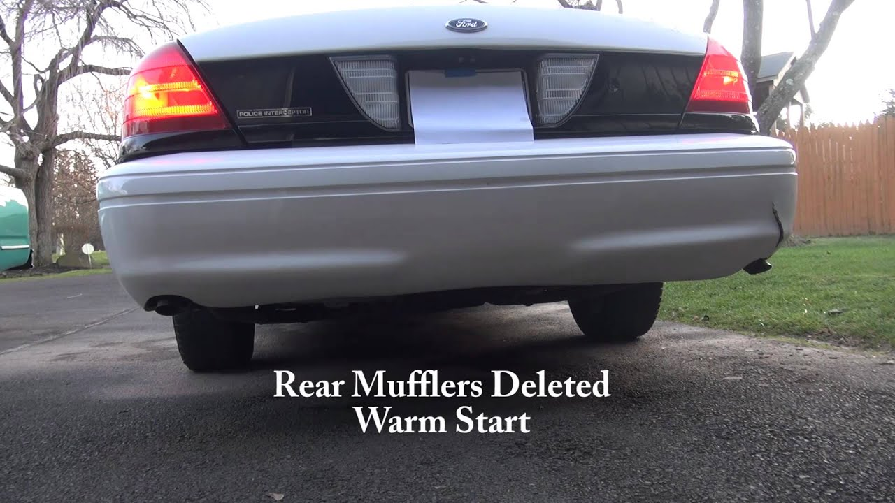01 ford p71 police interceptor stock vs muffler delete exhaust crown vic youtube