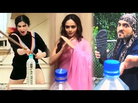 Bollywood Celebrities FUNNY Bottle Cap Challenge Compilation Video
