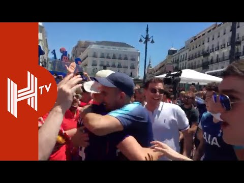 Liverpool and Tottenham fans celebrating together already in Madrid. Classy. Keep it like this.