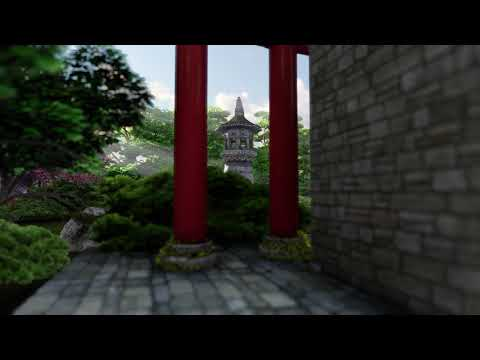 ( CGI 4k Stock Footage ) Japansese asian buddhist architecture temple zen garden 6