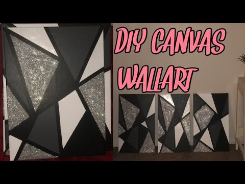 DIY Canvas Wall Art | How To Make EASY Room Decor (Glitter)