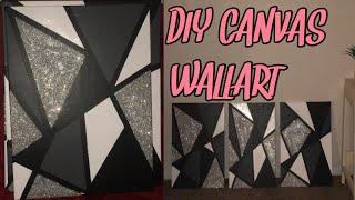 Diy Canvas Wall Art   How To Make Easy Room Decor (glitter)