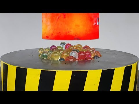 EXPERIMENT Glowing 1000 degree HYDRAULIC PRESS 100 TON vs ORBEEZ