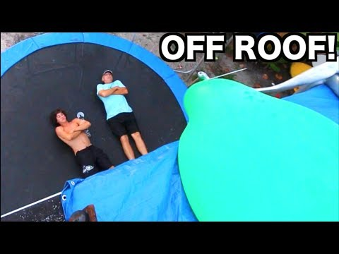 6FT WATER BALLOON PUSHED OFF ROOF!! **Crushed??** | JOOGSQUAD PPJT