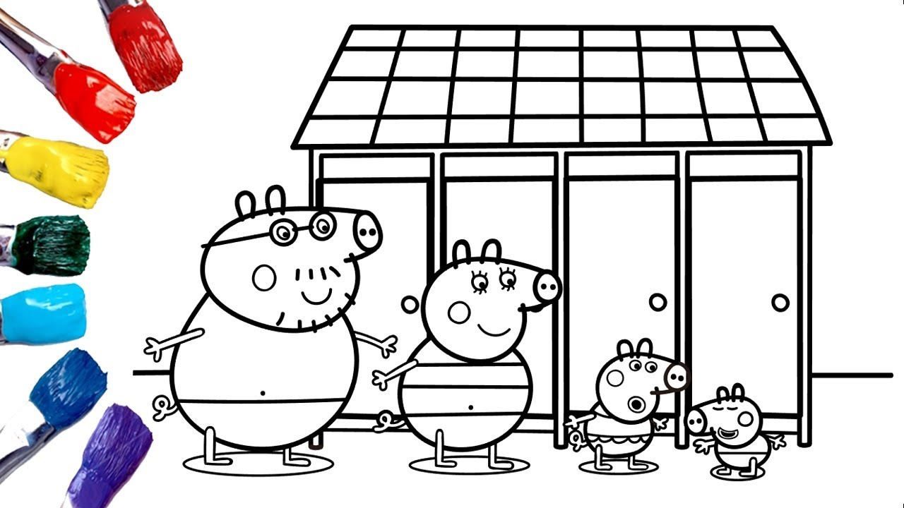 Peppa Pig Swimsuit | Peppa Pig Coloring Pages | Peppa Pig Swimming ...