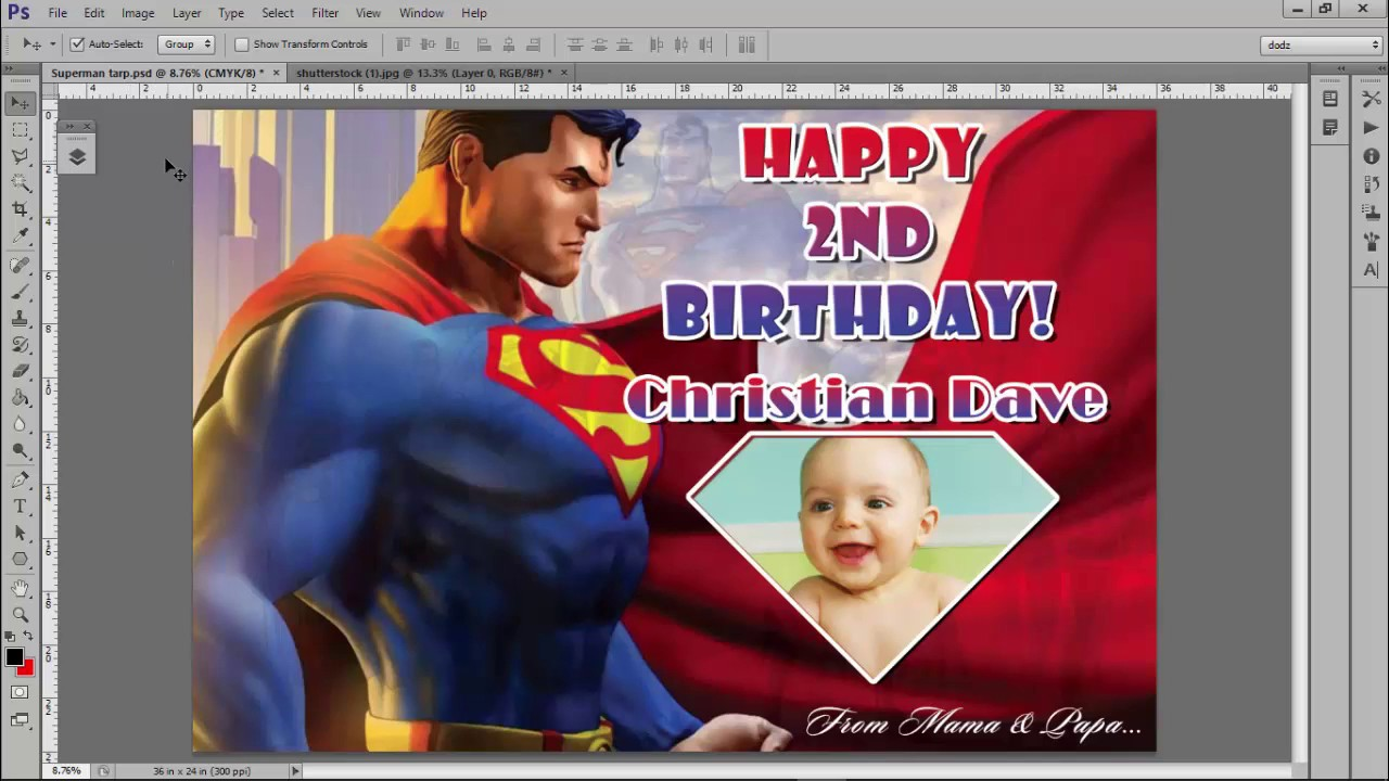 superman tarpaulin layout 1st birthday