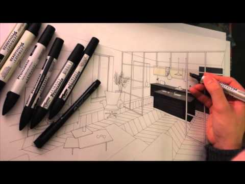 dessin perspective architecture intrieure