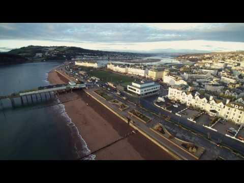 Teignmouth & Shaldon. A drone view over the estuary towns.
