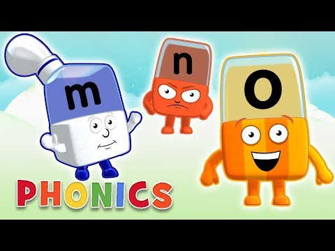 Phonics - Learn to Read | Letters M, N, O | Alphablocks