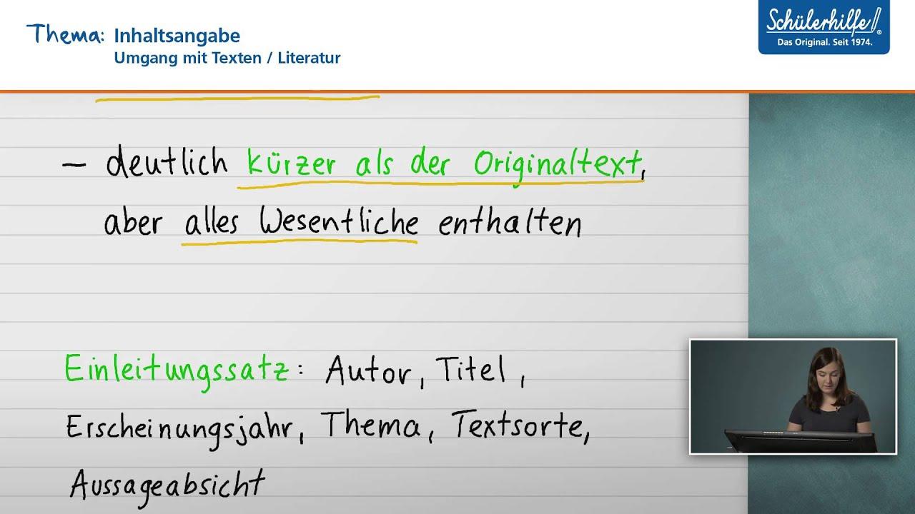 inhaltsangabe umgang mit texten deutsch schlerhilfe lernvideo - Textsorte Zusammenfassung