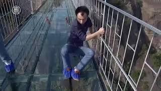 China Glass Bridge People Reaction -- Funny Video