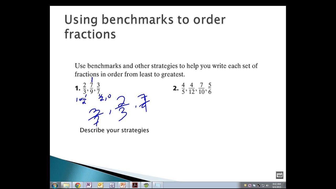 6th grade Benchmark Fractions - YouTube