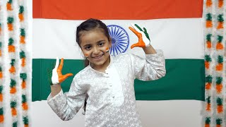 Hands of a little Indian girl painted in Indian tri colors - Independence day special