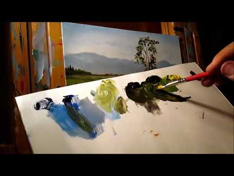 Painting a Green Meadows Landscape Scene With Oils – Super Relaxing!