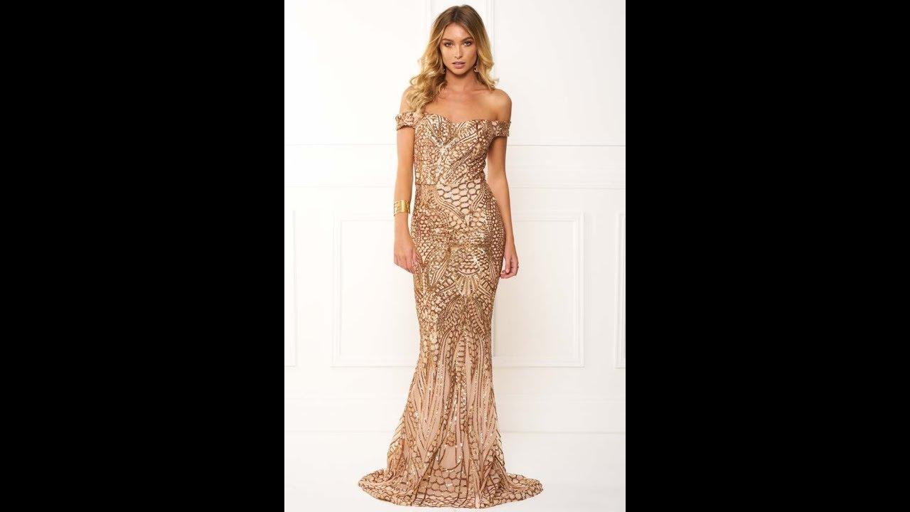 533f75ef8dfb Honey Couture HAILEY Rose Gold Sheer Sequin Off Shoulder Evening ...