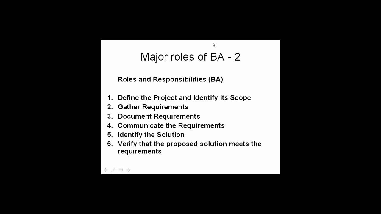 roles and responsibilities of business analyst tutorial