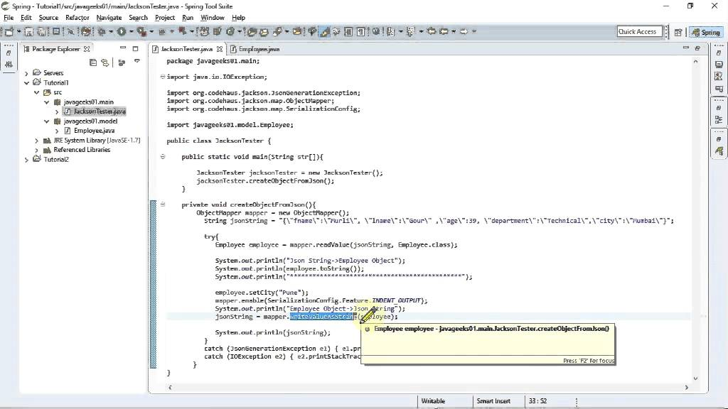 Tutorial2 - Deserialize JSON data to Object and Serialize Object to JSON