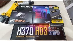 CPU, RAM  M2 Installation Process. Intel Core i7-9700k, Samsung 970 EVO Plus NVME, H370-HD3