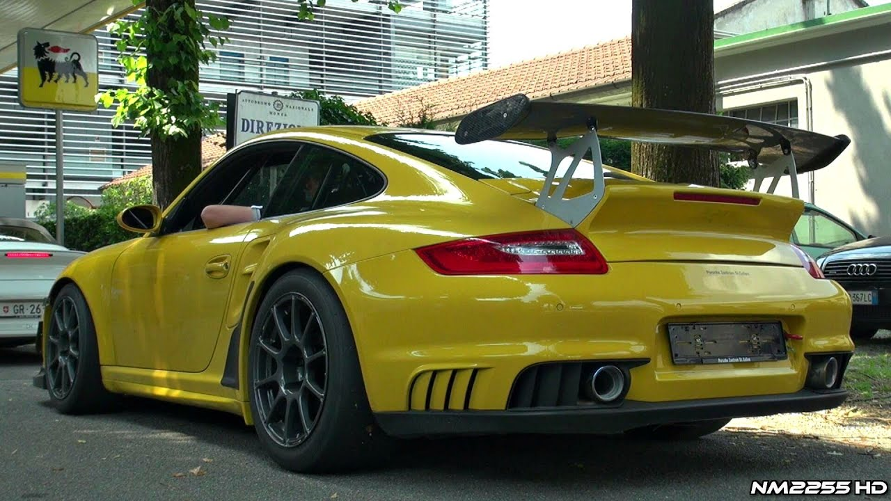 modified porsche 997 gt2 akrapovic exhaust sound youtube. Black Bedroom Furniture Sets. Home Design Ideas