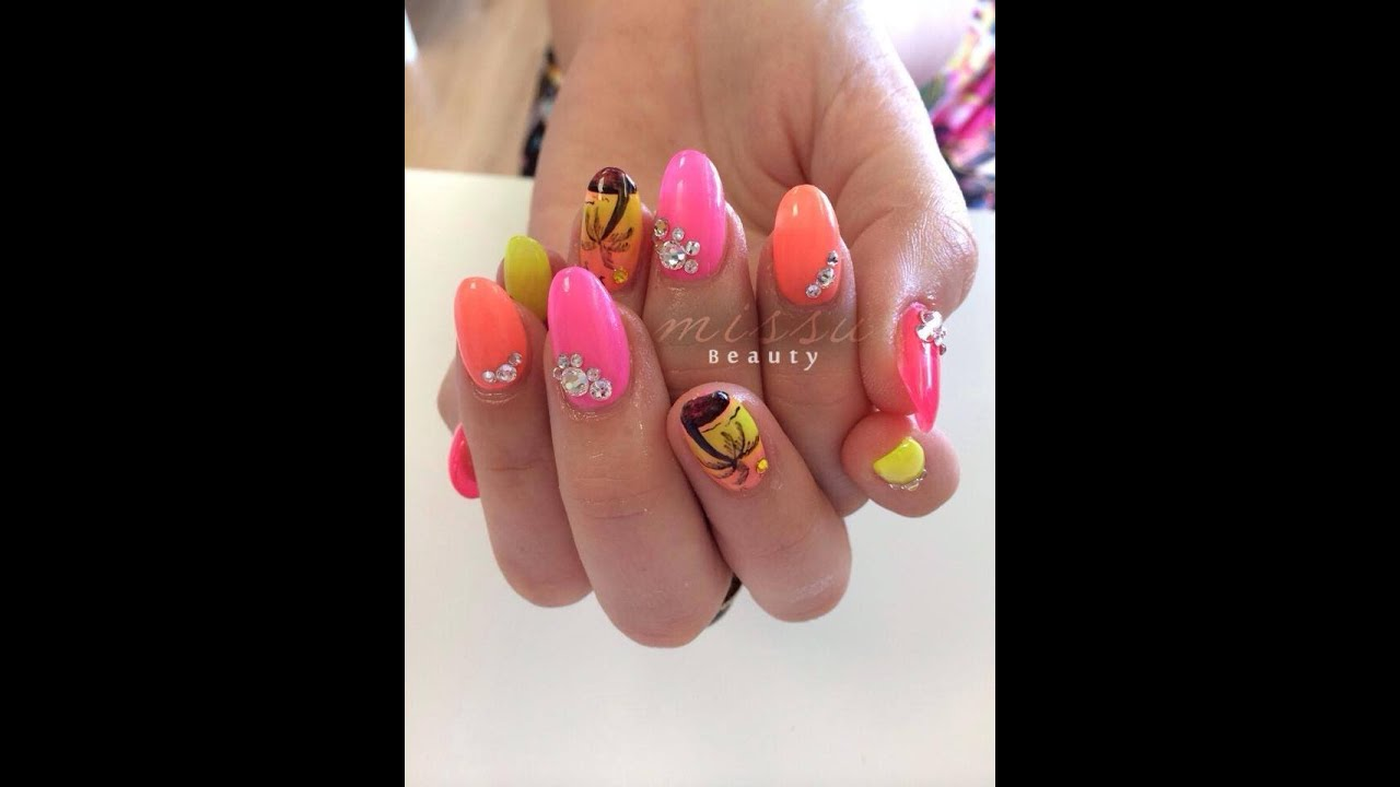 Holiday Gel Nail Design~~Palm Tree Nails - YouTube