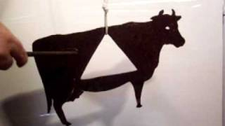 19th Century Folk Art Weathervane Cow Made Into Dinner Bell Ringing
