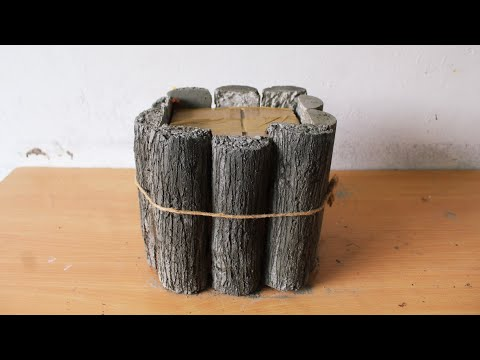 cement pot making at home   how to make tree stump shape flower pot with Cement.
