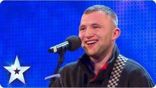 Robbie Kennedy with his acoustic guitar singing 39 Iris 39 Week 3 Auditions Britain 39 s Got Talent 2013