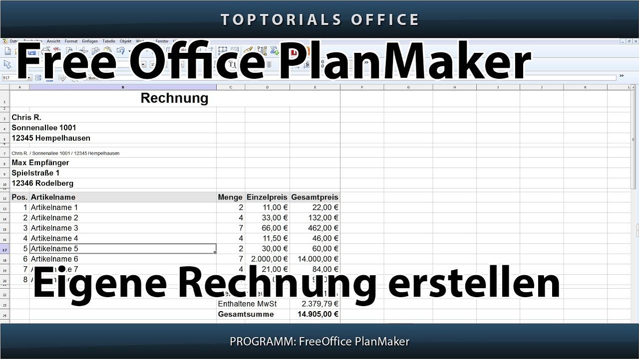 Eigene Rechnung Erstellen Mehrwertsteuer Free Office Planmaker