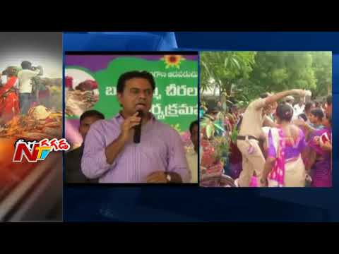 Sarees Distribution for Bathukamma Festival Turns Controversial in Telangana || NTV