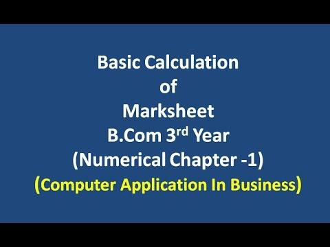 1 b com part 3 mark sheet calculation in excel computer