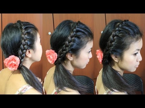 Lace Braid Headband Hairstyle for Medium Long Hair Tutorial