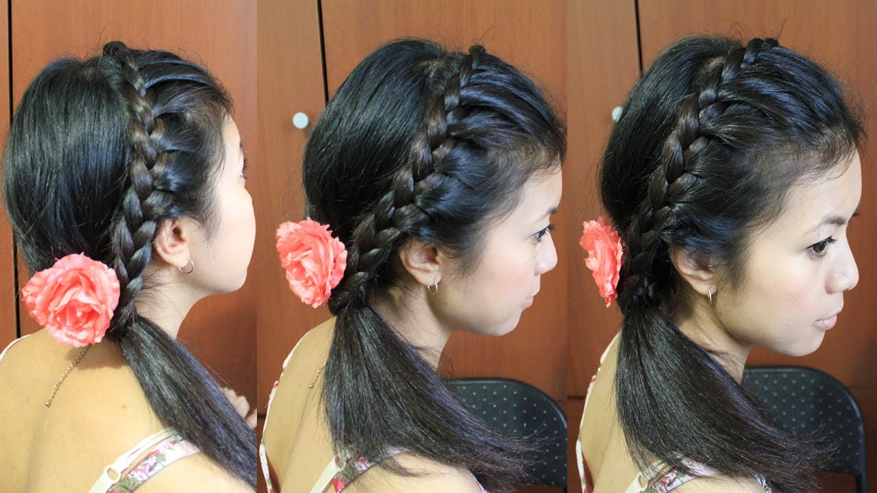 Lace Braid Headband Hairstyle For Medium Long Hair Tutorial