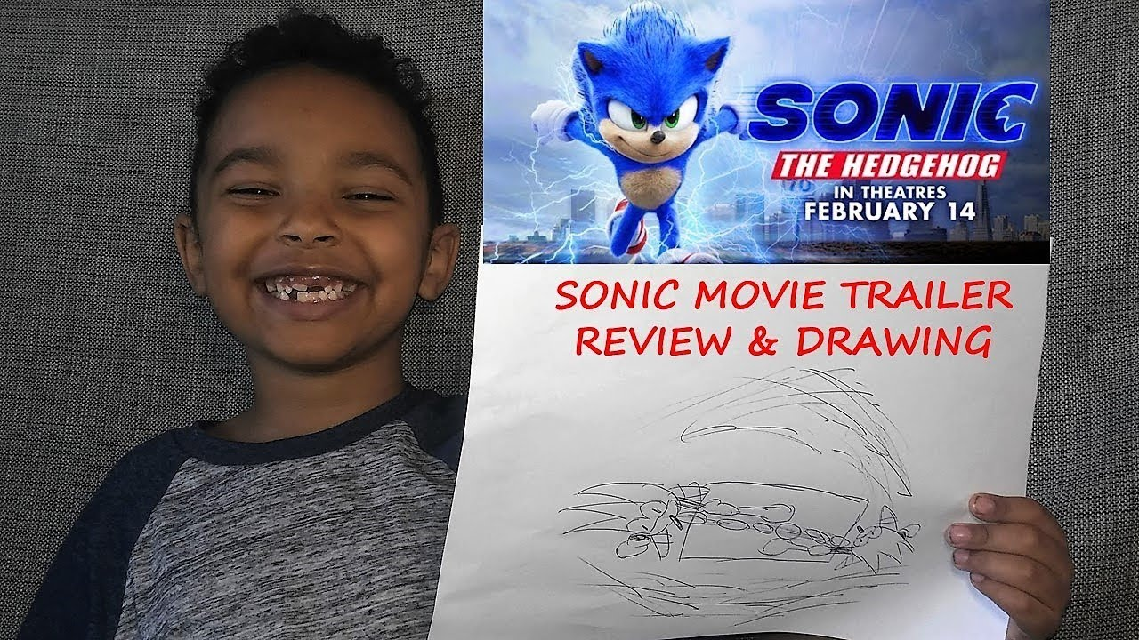 Sonic Movie Trailer Review And Drawing 6 Year Old Art Youtube