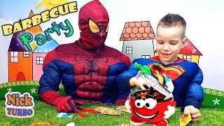 Спайдермен и Супермен НА ПИКНИКЕ Веселое видео - ЧЕЛЛЕНДЖ Barbecue Party Kids Game Nick Turbo