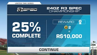 Real Racing 3 Nissan 240Z (S30) R3 Spec Championship Tier 4b + 5 (PR 34.2) 25% Complete